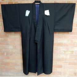 Men's Vintage Black Silk Kimono with Crests