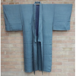 Men's Blue Grey Plain Silk Kimono